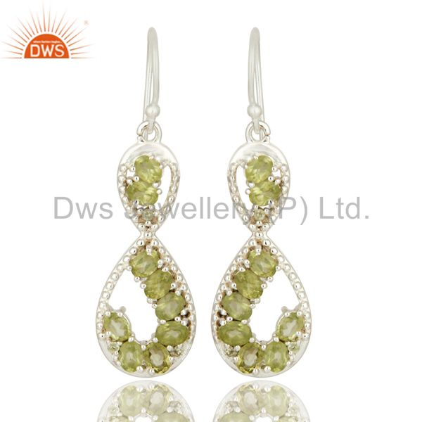 Infinity Design 925 Sterling Silver Natural Peridot Solitaire Dangle Earrings