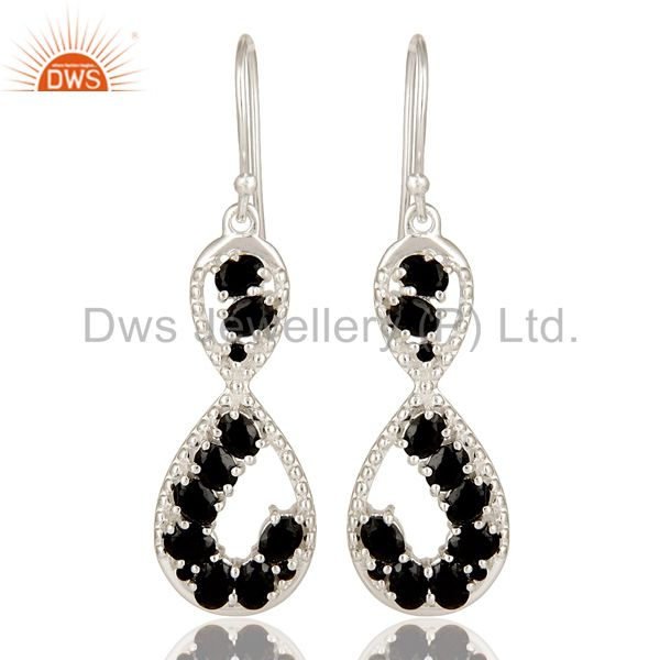 925 Sterling Silver Black Onyx Gemstone Designer Infinity Dangle Earrings