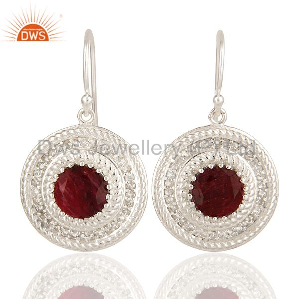 Red Corundum And White Topaz Sterling Silver Circle Design Dangle Earrings