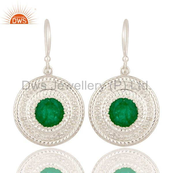 925 Sterling Silver Green Aventurine And White Topaz Disc Dangle Earrings