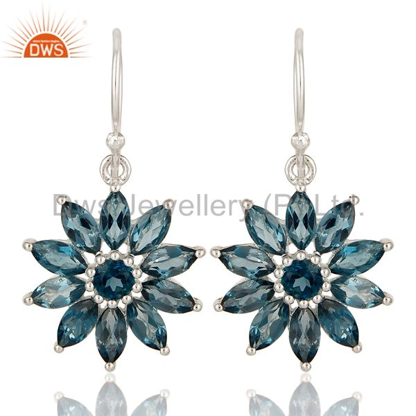 925 Sterling Silver Blue Topaz Marquise Cut Gemstone Cluster Flower Earrings