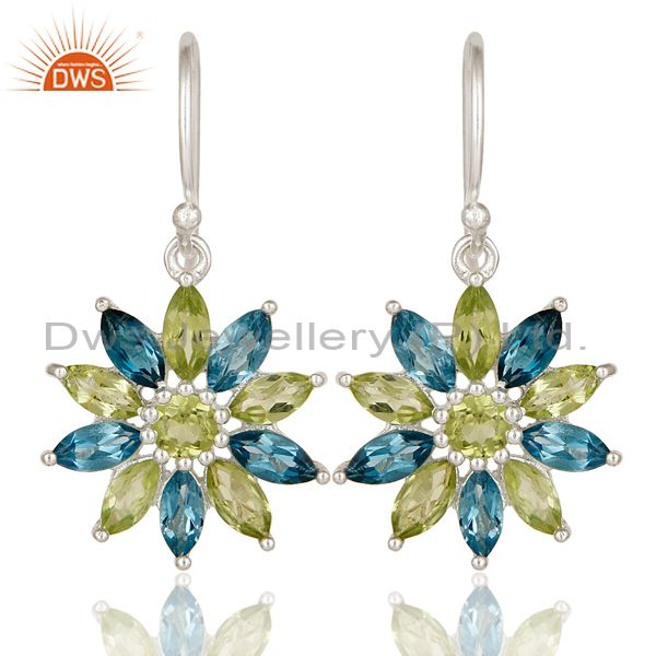 925 Sterling Silver Blue Topaz & Peridot Gemstone Cluster Flower Dangle Earrings