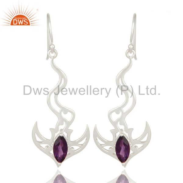 Marquise Cut Amethyst Gemstone Sterling Silver Angel Wing Dangle Earrings