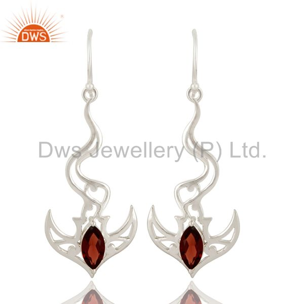 925 Sterling Silver Garnet Gemstone Sea Wave Designs Dangle Earrings