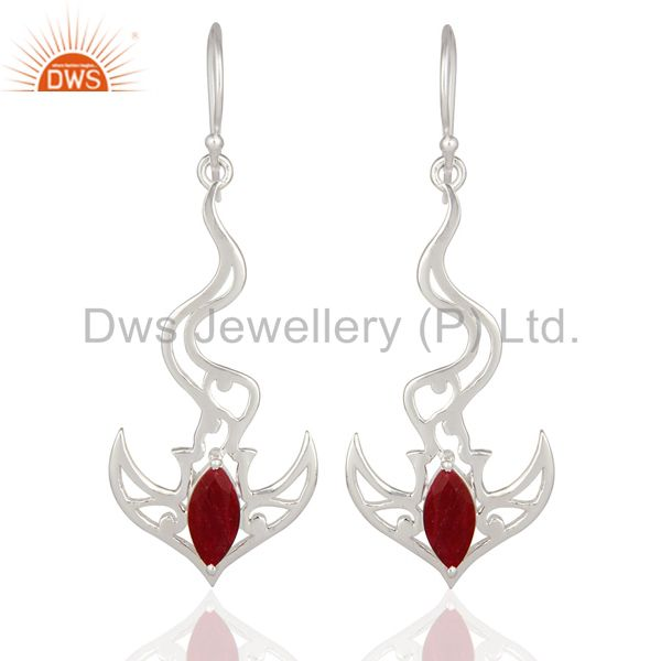 Red Corundum Ruby Solid Sterling Silver Designer Fine Gemstone Earrings