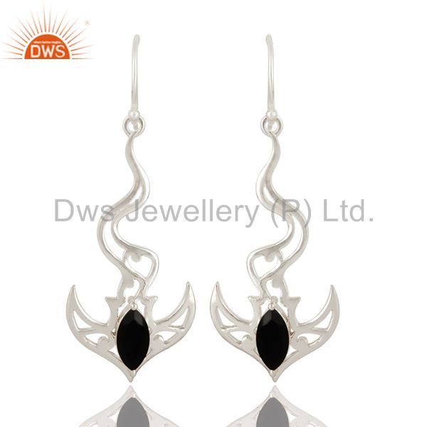 925 Sterling Silver Black Onyx Gemstone Designer Earrings