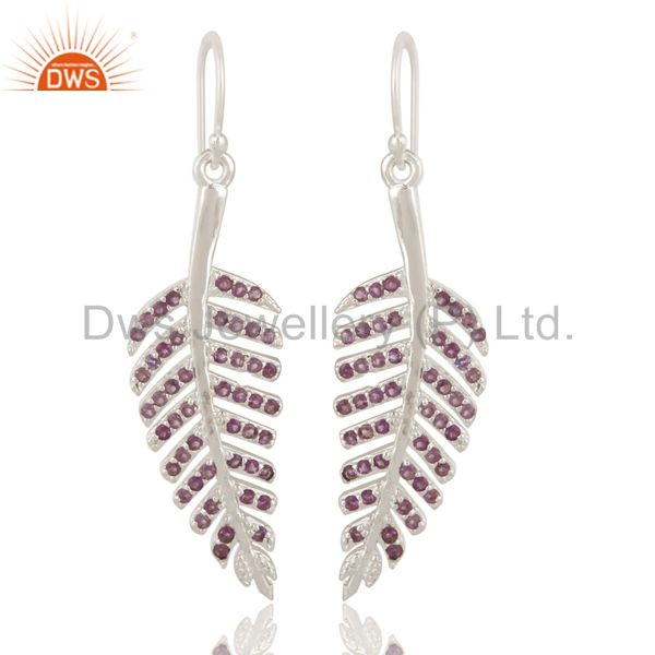 925 Sterling Silver Amethyst Leaf Designer Dangle Earrings For Womens