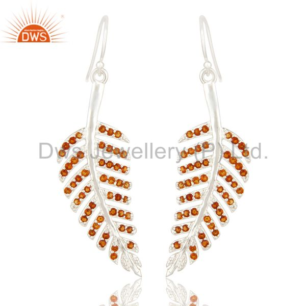Natural Citrine Gemstone 925 Sterling Silver Leaf Design Dangle Earrings