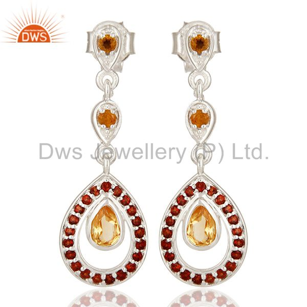 Natural Citrine And Garnet Gemstone Dangle Earrings Made In Sterling Silver