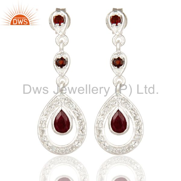 925 Sterling Silver Ruby And Garnet Dangle Earrings With White Topaz
