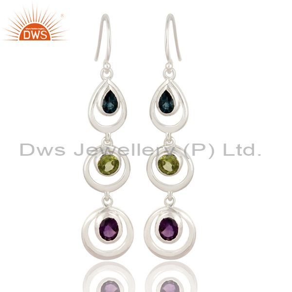 Amethyst, Peridot And Blue Topaz Sterling Silver Multistone Dangle Earrings