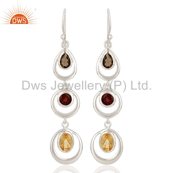 Natural Citrine, Garnet And Smoky Quartz Sterling Silver Gemstone Dangle Earring