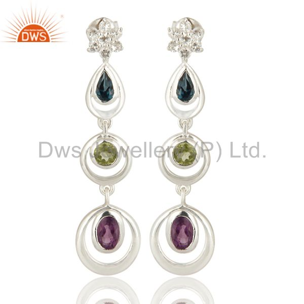 Natural Multicolor Gemstone Sterling Silver Dangle Earrings