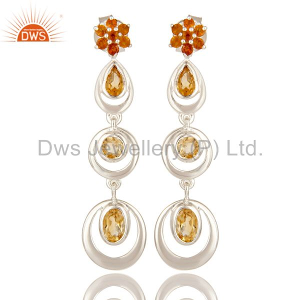 925 Sterling Silver Citrine Gemstone Multi Circle Dangle Earrings For Womens