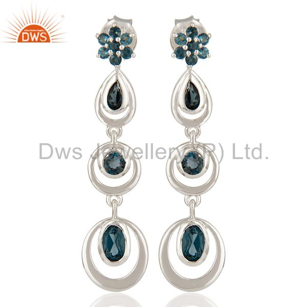 Genuine London Blue Topaz 925 Solid Sterling Silver Dangle Earrings