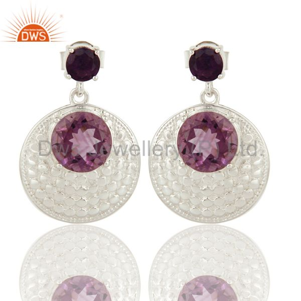 Solid Sterling Silver Natural Amethyst Gemstone Disc Design Earrings