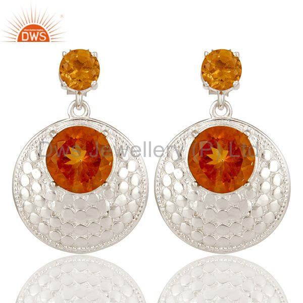 925 Sterling Silver Citrine Gemstone Prong Set Disc Designer Dangle Earrings