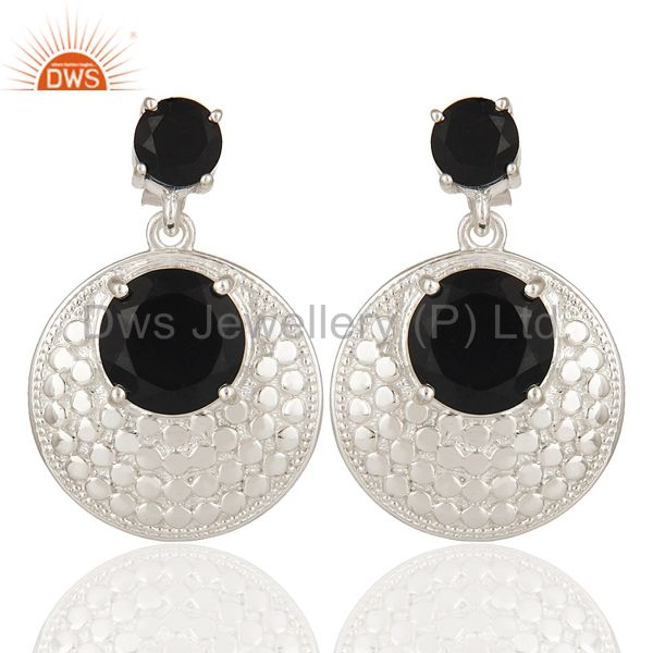 Natural Black Onyx Gemstone Prong Set Sterling Silver Disc Dangle Earrings