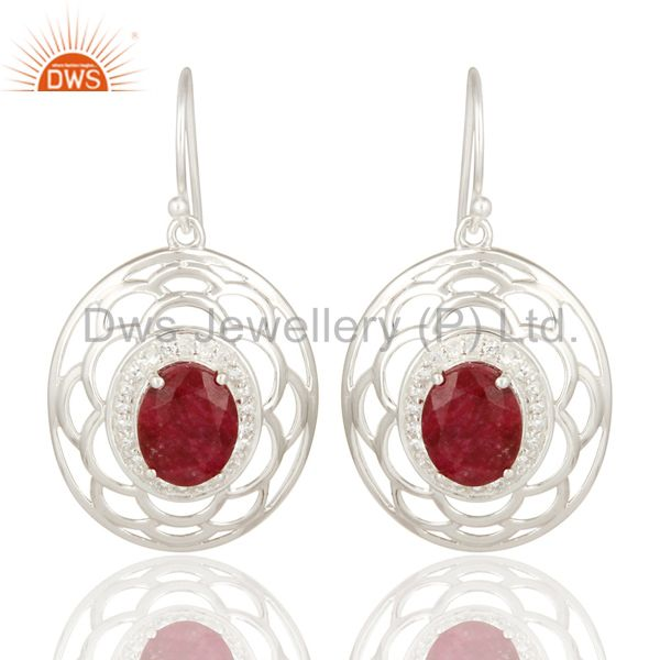 925 Sterling Silver Ruby Corundum Gemstone Earrings With White Topaz