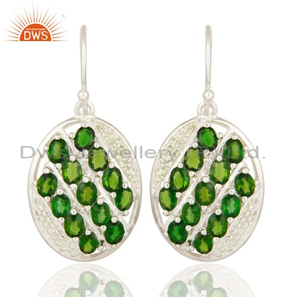 Natural Green Peridot And Chrome Diopside 925 Sterling Silver Earrings
