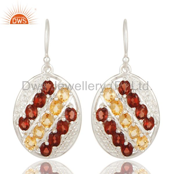 925 Sterling Silver Garnet And Citrine Gemstone Dangle Earrings With White Topaz