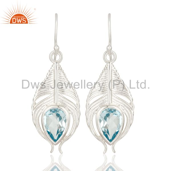 925 Sterling Silver Genuine Blue Topaz Peacock Feather Dangle Earrings