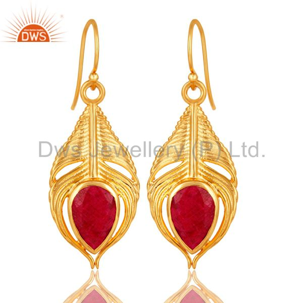 18K Gold Plated Sterling Silver Red Corundum Peacock Feather Dangle Earrings