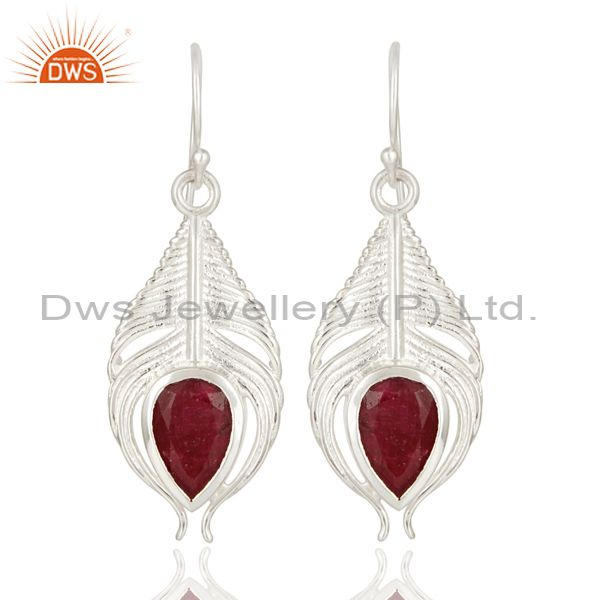 925 Sterling Silver Peacock Feather Dangle Earrings With Red Ruby Corundum