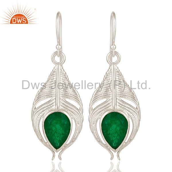 925 Sterling Silver Green Aventurine Gemstone Peacock Feather Dangle Earrings