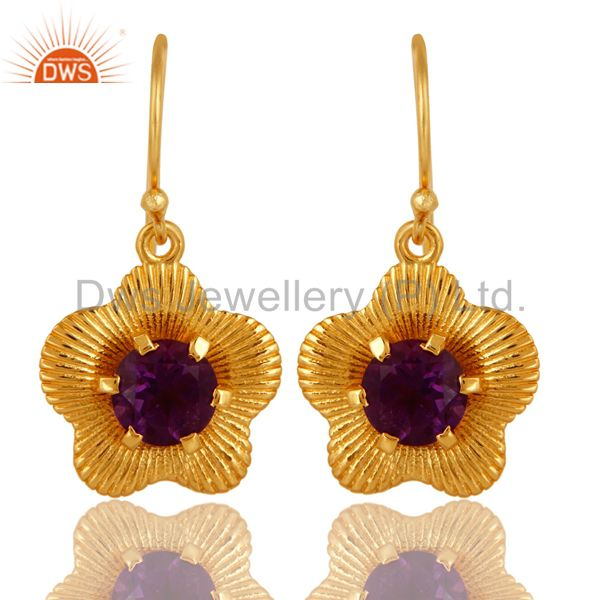 18K Gold Plated Sterling Silver Prong Set Amethyst Gemstone Flower Earrings