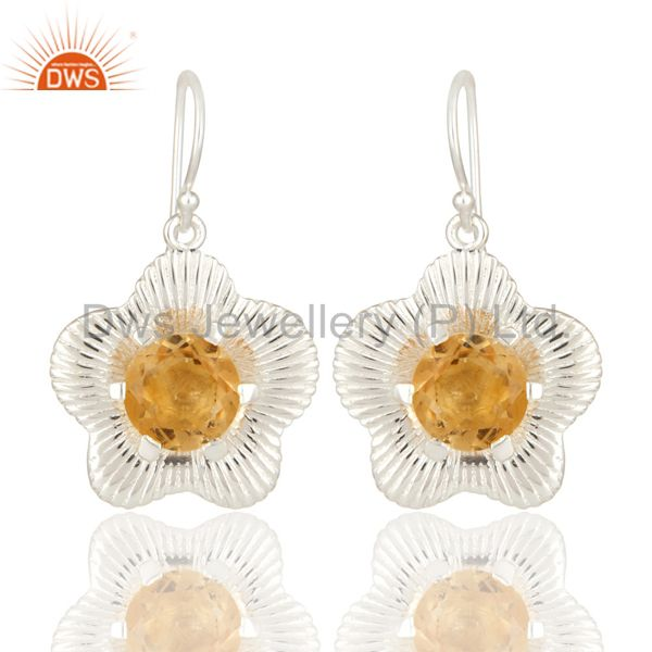 Natural Round Cut Citrine Gemstone 925 Sterling Silver Fine Earrings