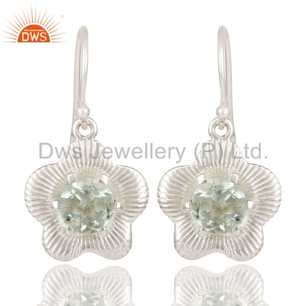 Solid 925 Sterling Silver Natural Green Amethyst Drops Fine Earrings Jewellery