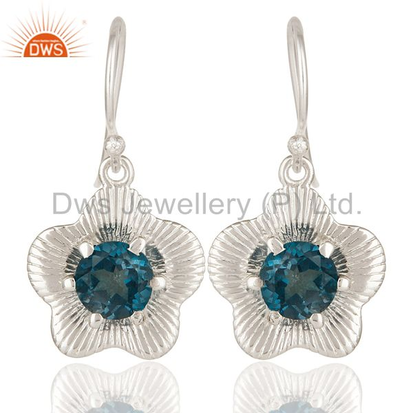 High Polish Sterling Silver London Blue Topaz Prong Set Flower Dangle Earrings