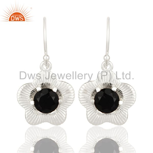 Prong Set Natural Black Onyx Gemstone Sterling Silver Fashion Earrings