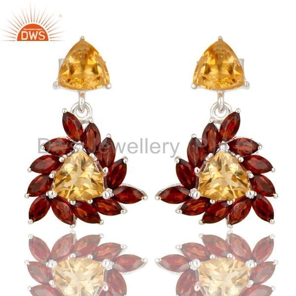 925 Sterling Silver Citrine And Garnet Gemstone Cluster Dangle Earrings