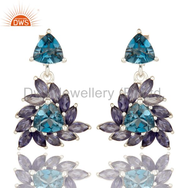 925 Sterling Silver Iolite And London Blue Topaz Gemstone Cluster Dangle Earring