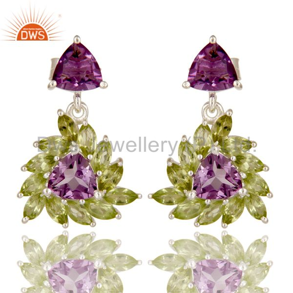 925 Sterling Silver Amethyst And Peridot Gemstone Floral Cluster Dangle Earrings