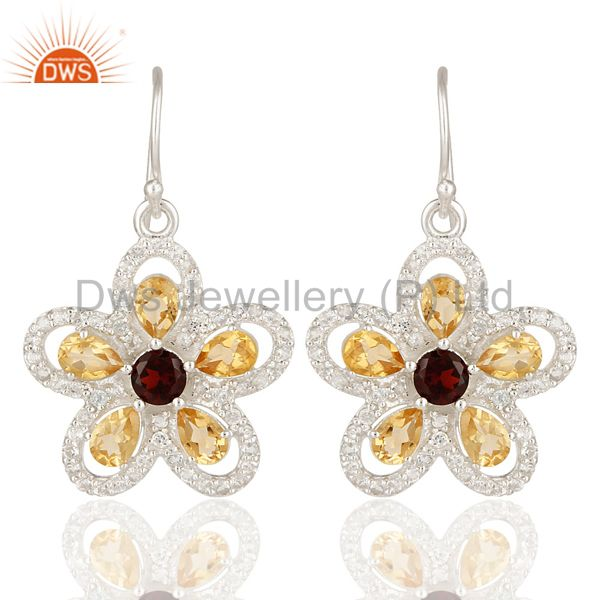 Natural Citrine, Garnet And White Topaz Sterling Silver Flower Dangle Earrings