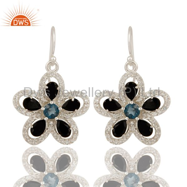 Black Onyx And Blue Topaz Sterling Silver Earrings With White Topaz