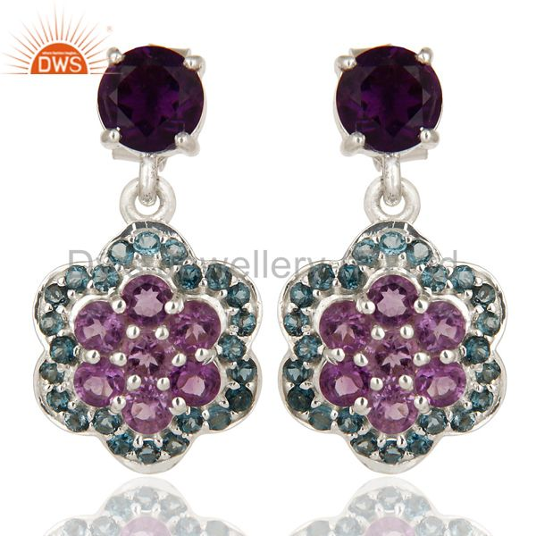 Natural Amethyst And London Blue Topaz Sterling Silver Cluster Dangle Earrings