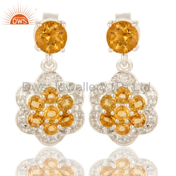 925 Sterling Silver Natural Citrine Gemstone And White Topaz Dangle Earrings
