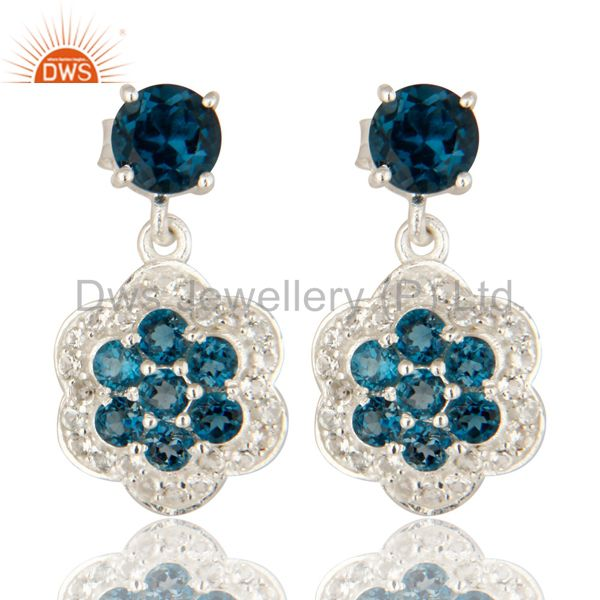 Natural London Blue Topaz 925 Sterling Silver Earrings With White Topaz
