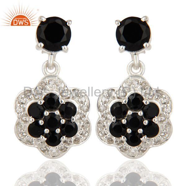 Natural Black Onyx And White Topaz Cluster Sterling Silver Dangle Earrings