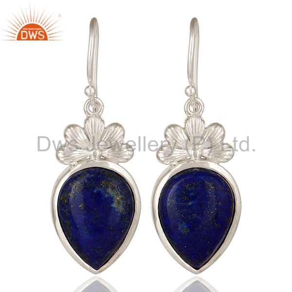 Handmade 925 Solid Sterling Silver Lapis Lazuli Gemstone Dangle Earrings
