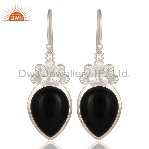 Natural Black Onyx Sterling Silver Gemstone Dangle Earrings