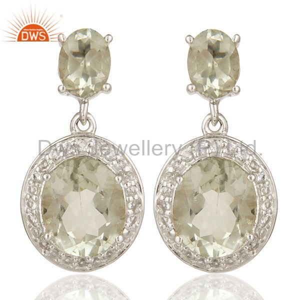 925 Sterling Silver Green Amethyst Gemstone Dangle Earrings With White Topaz