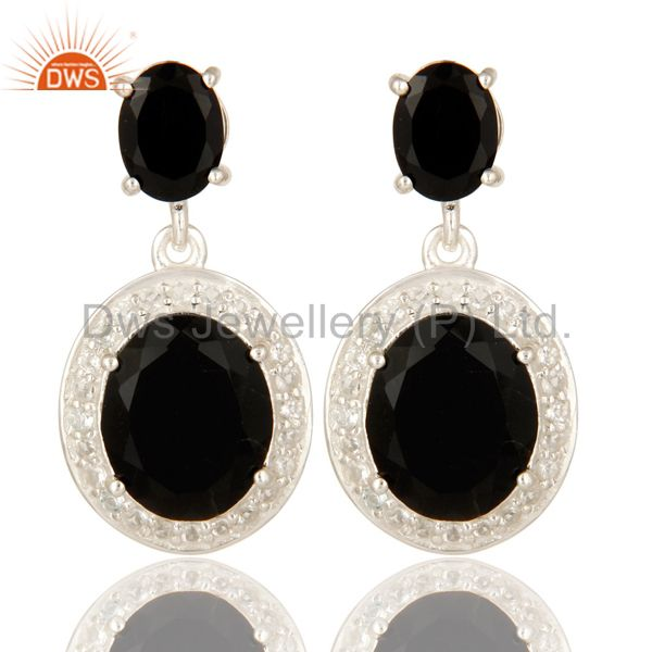 Prong Set Black Onyx And White Topaz Dangle Earrings In Sterling Silver