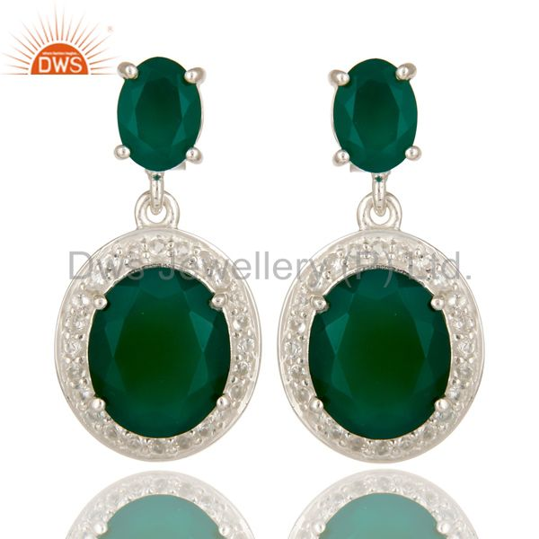 925 Sterling Silver Green Onyx And White Topaz Gemstone Dangle Earrings