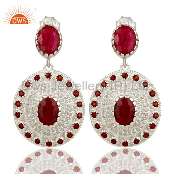 925 Sterling Silver Ruby And Garnet Gemstone Dangle Earrings With White Topaz