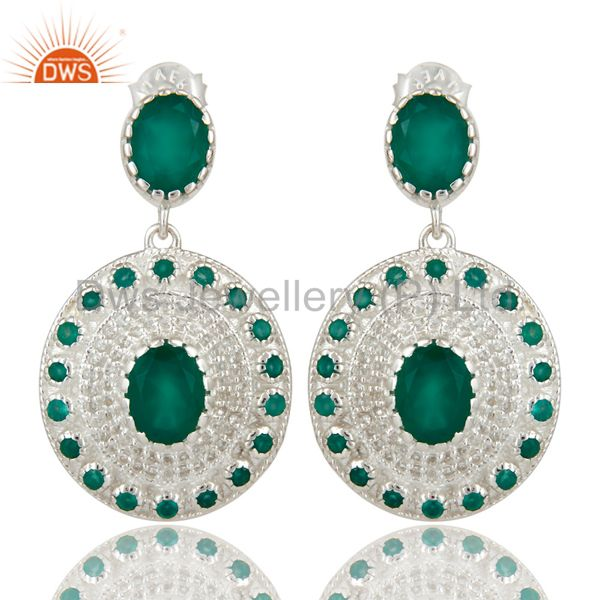 925 Sterling Silver Green Onyx And White Topaz Fine Gemstone Earrings For Her